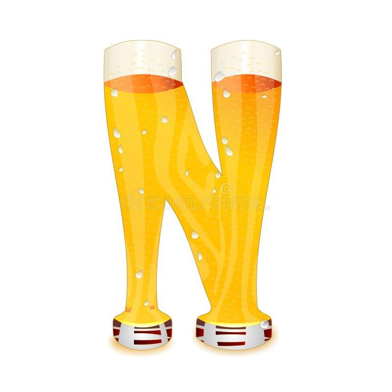Γράμμα Ν αλφάβητου μπύρας ελεύθερη απεικόνιση δικαιώματος