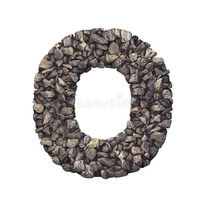 Γράμμα Ο - κεφαλαία τρισδιάστατη συντριμμένη πηγή αμμοχάλικου βράχου - φύση, περιβάλλον, οικοδομικά υλικά ή έννοια ακίνητων περιο απεικόνιση αποθεμάτων