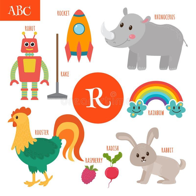 γράμμα ρ Αλφάβητο κινούμενων σχεδίων για τα παιδιά Ραδίκι, ρινόκερος, ροκ ελεύθερη απεικόνιση δικαιώματος