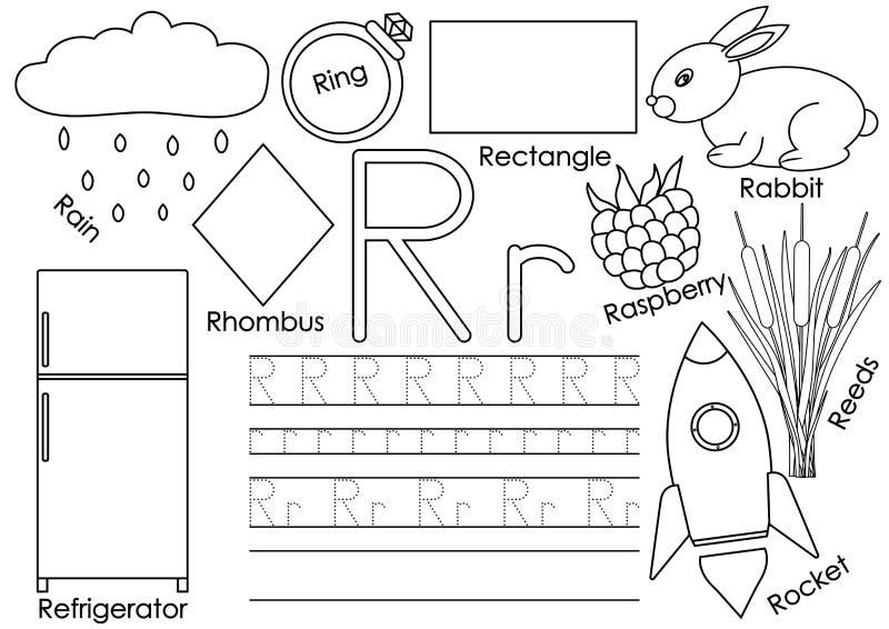 γράμμα ρ Κάρτα με τις εικόνες και την πρακτική γραψίματος για τον παιδικό σταθμό απεικόνιση αποθεμάτων