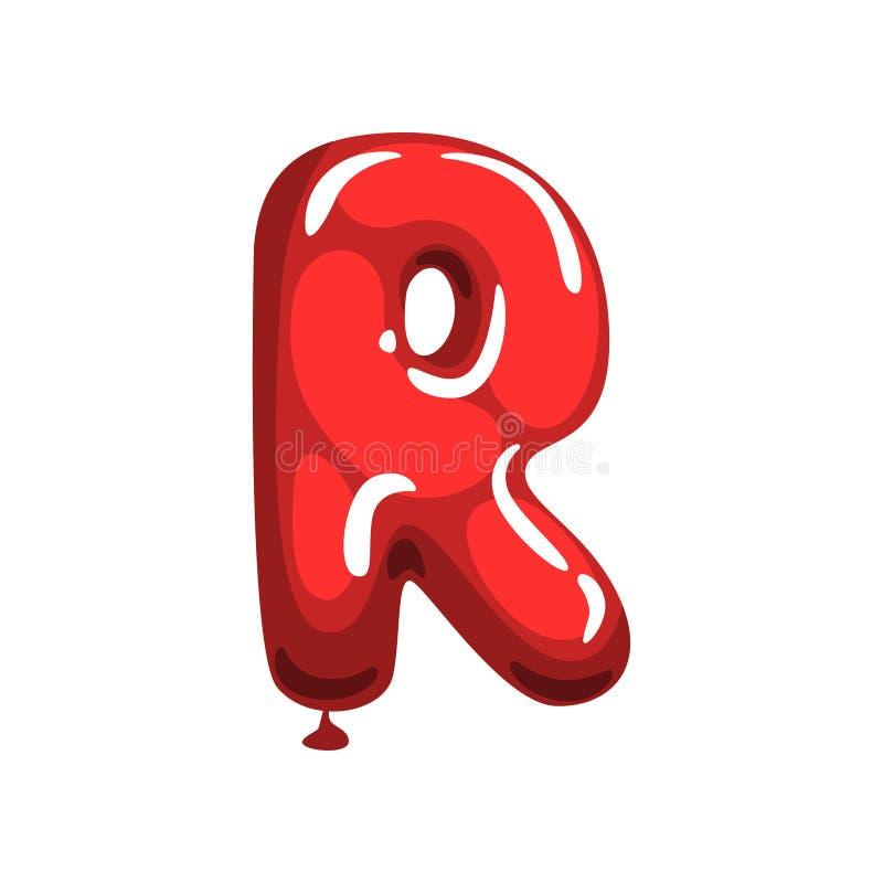 Γράμμα Ρ κινούμενων σχεδίων φιαγμένο από κόκκινο μπαλόνι αέρα Αρχική αγγλική πηγή αλφάβητου Αστεία κάρτα εκπαίδευσης Απομονωμένο  διανυσματική απεικόνιση
