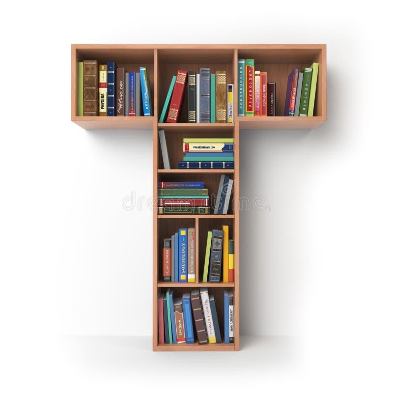 γράμμα τ Αλφάβητο υπό μορφή ραφιών με τα βιβλία που απομονώνεται επάνω απεικόνιση αποθεμάτων