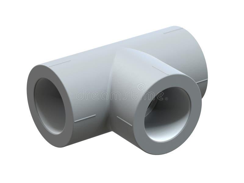 Γράμμα Τ για τους σωλήνες πολυπροπυλενίου Εικόνα για τη διαφήμιση των συναρμολογήσεων υδραυλικών τρισδιάστατη απόδοση ελεύθερη απεικόνιση δικαιώματος