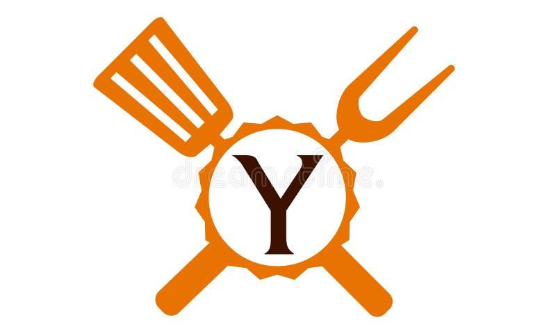 Γράμμα Υ εστιατορίων λογότυπων διανυσματική απεικόνιση