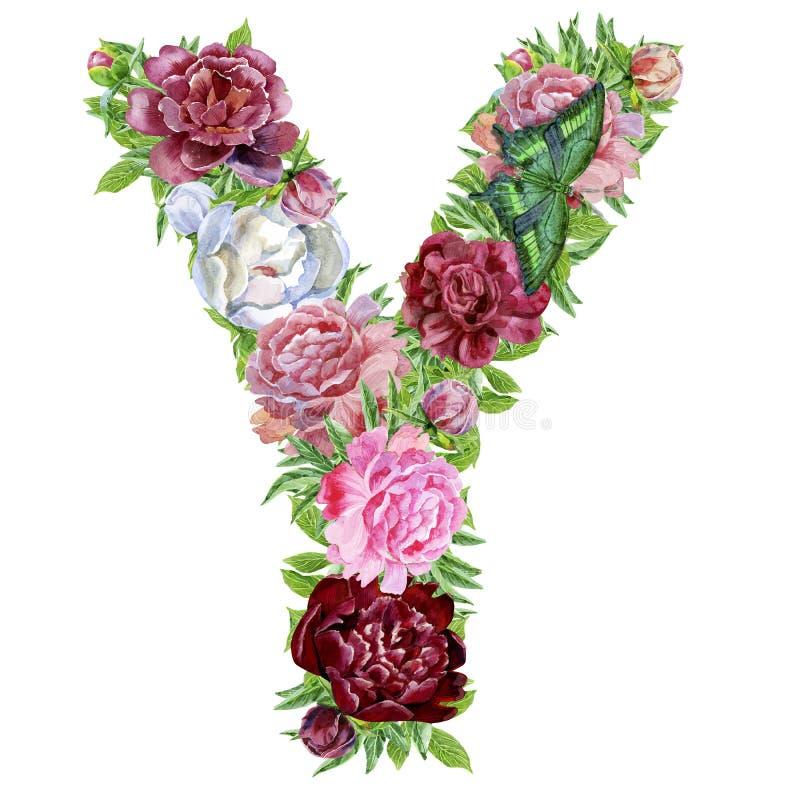 Γράμμα Υ των λουλουδιών watercolor διανυσματική απεικόνιση