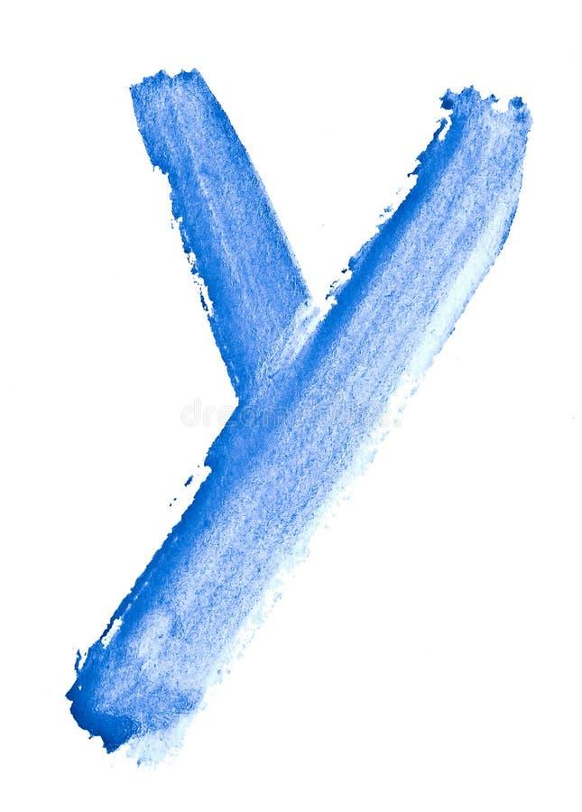 Γράμμα Υ - watercolor, που χρωματίζεται με το χέρι με τη βοήθεια μιας τραχιάς βούρτσας Εκλεκτής ποιότητας έργα ζωγραφικής για το  στοκ φωτογραφία με δικαίωμα ελεύθερης χρήσης
