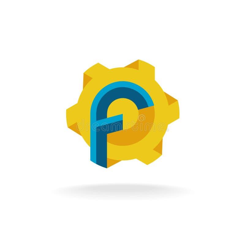 Γράμμα Φ με τον ανεμιστήρα ή το λογότυπο συμβόλων ήλιων τεχνολογίας διανυσματική απεικόνιση