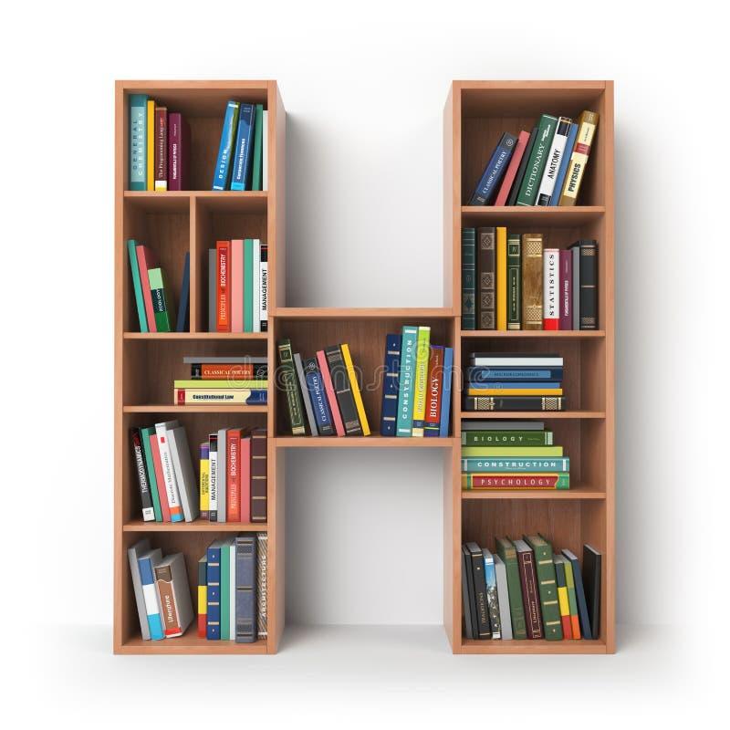 Γράμμα Χ Αλφάβητο υπό μορφή ραφιών με τα βιβλία που απομονώνεται επάνω απεικόνιση αποθεμάτων