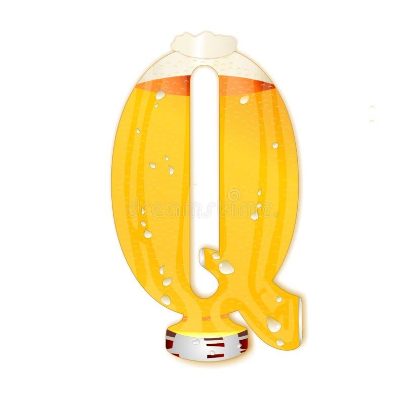 Γράμμα Q αλφάβητου μπύρας διανυσματική απεικόνιση