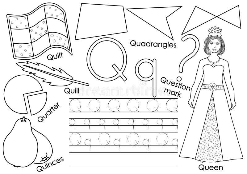 Γράμμα Q Μαθαίνοντας αγγλικό αλφάβητο Πρακτική γραψίματος ελεύθερη απεικόνιση δικαιώματος