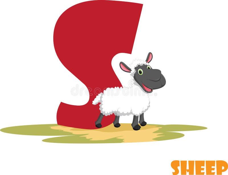 Χαριτωμένο ζωικό αλφάβητο ζωολογικών κήπων Γράμμα S για τα πρόβατα στοκ εικόνα