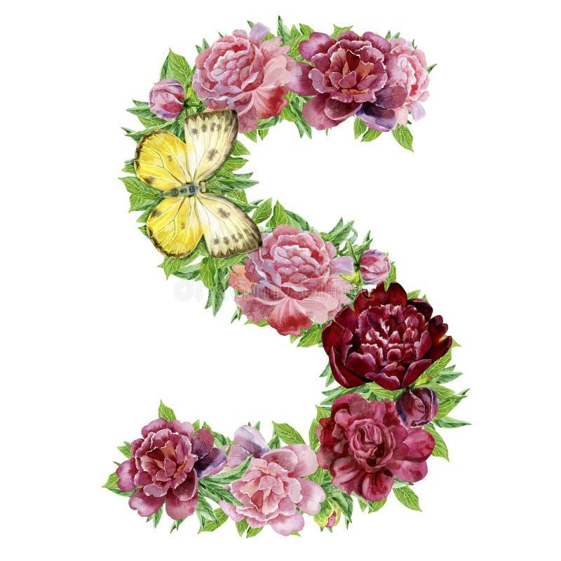 Γράμμα S των λουλουδιών watercolor διανυσματική απεικόνιση