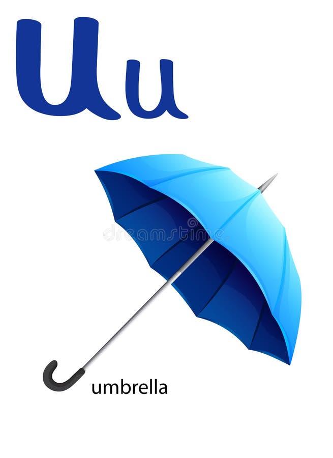 Γράμμα U για την ομπρέλα διανυσματική απεικόνιση