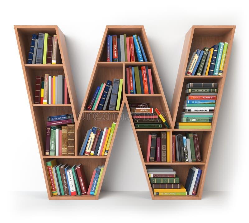 γράμμα W Αλφάβητο υπό μορφή ραφιών με τα βιβλία που απομονώνεται επάνω απεικόνιση αποθεμάτων