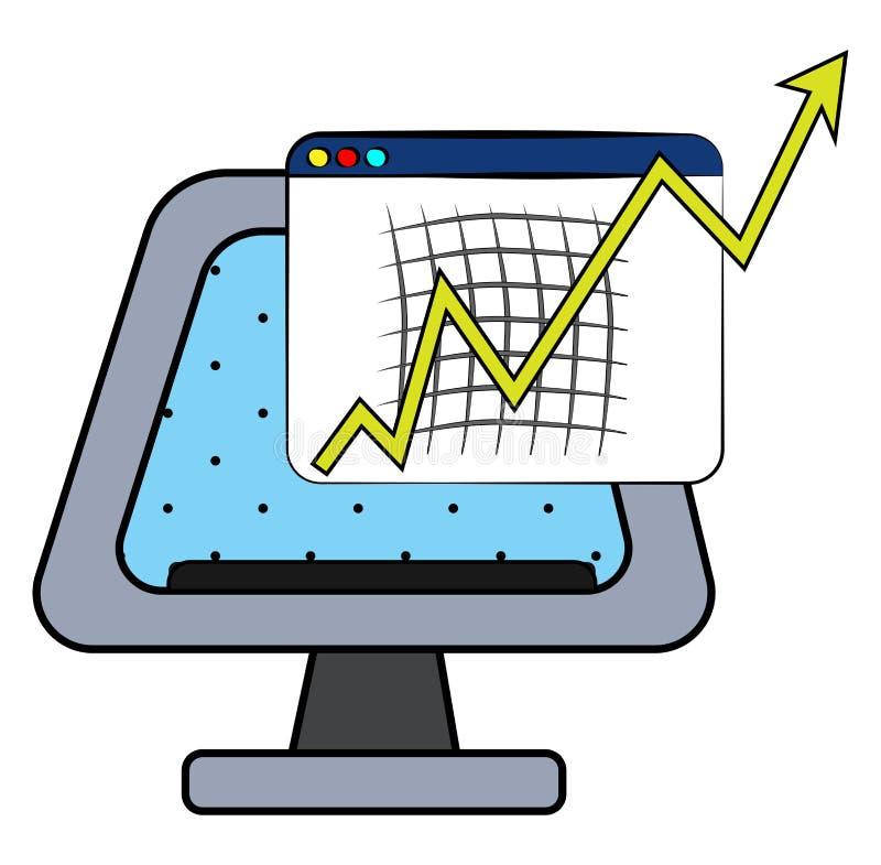Γράφημα με επιτάχυνση διανυσματικής ανάπτυξης ή απεικόνισης χρώματος διανυσματική απεικόνιση