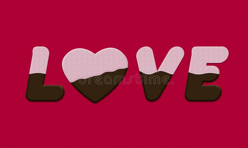 Γράφοντας κάλυψη αγάπης με τη σκοτεινή σοκολάτα και το άσπρο πάγωμα ελεύθερη απεικόνιση δικαιώματος