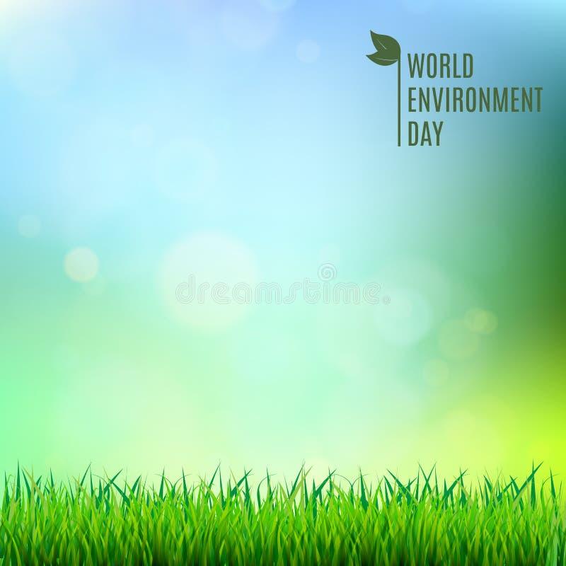 Γράφοντας κάρτα χεριών ημέρας παγκόσμιου περιβάλλοντος στο θολωμένο υπόβαθρο επίσης corel σύρετε το διάνυσμα απεικόνισης απεικόνιση αποθεμάτων