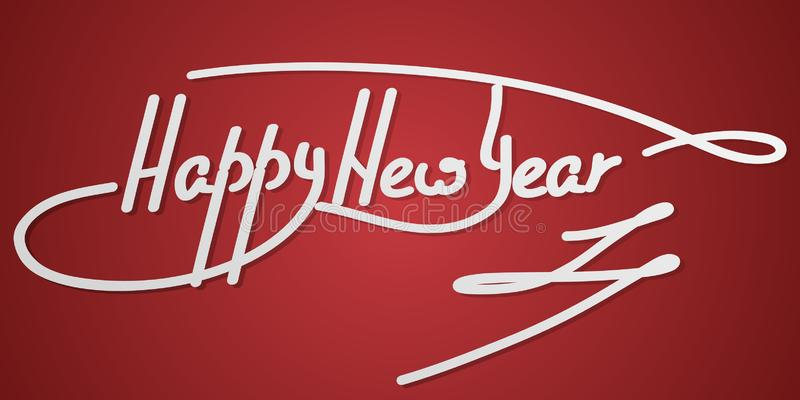 Γράφοντας κείμενο χεριών καλής χρονιάς σε ένα κόκκινο υπόβαθρο χειροποίητη διανυσματική καλλιγραφία, ελεύθερη απεικόνιση δικαιώματος