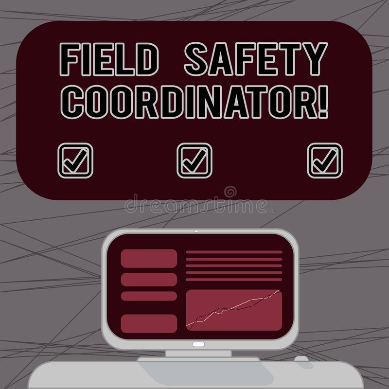 Γράφοντας συντονιστής ασφάλειας τομέων κειμένων λέξης Επιχειρησιακή έννοια για Ensure τη συμμόρφωση με τα πρότυπα υγειών και ασφα απεικόνιση αποθεμάτων