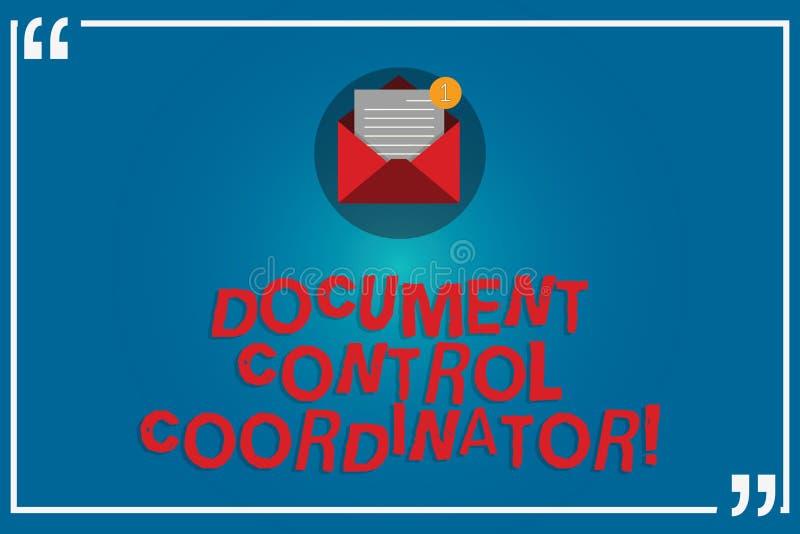 Γράφοντας συντονιστής ελέγχου εγγράφων κειμένων γραφής Έννοια που σημαίνει και που ελέγχει τα έγγραφα επιχείρησης απεικόνιση αποθεμάτων