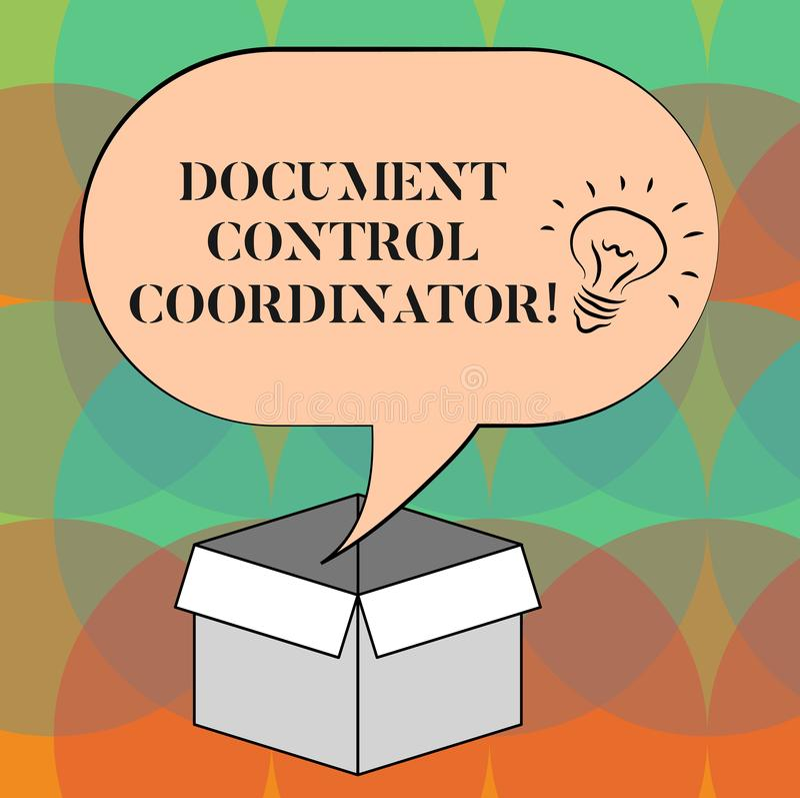 Γράφοντας συντονιστής ελέγχου εγγράφων κειμένων λέξης Επιχειρησιακή έννοια για και ελέγχου τα έγγραφα επιχείρησης απεικόνιση αποθεμάτων
