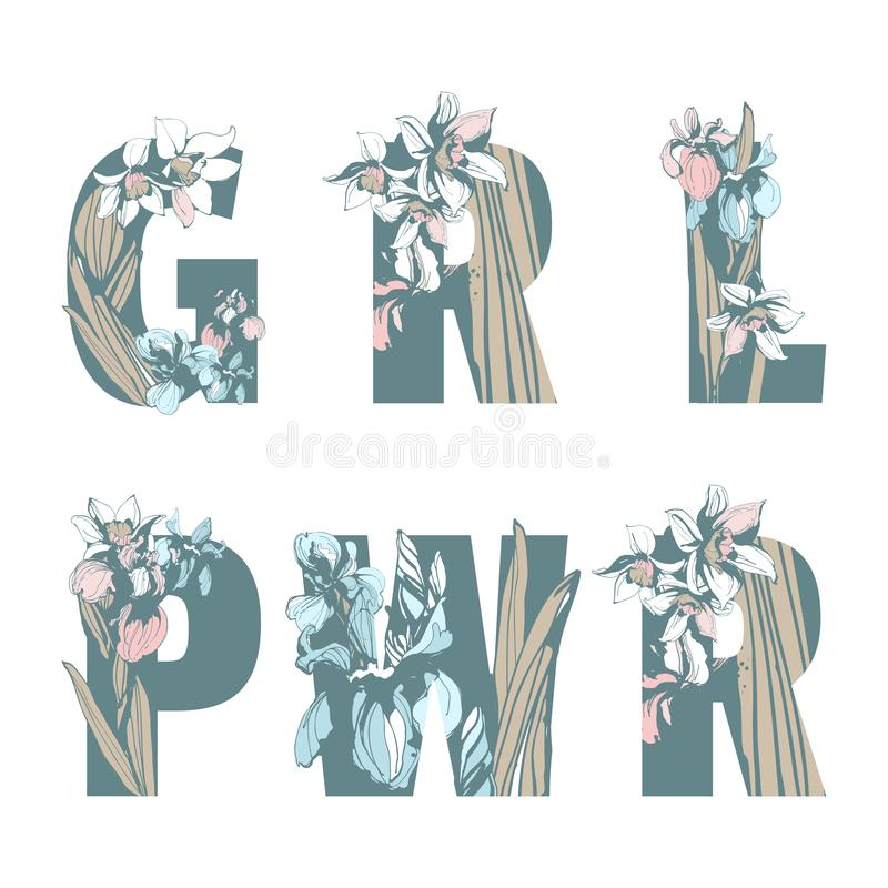 Γράφοντας το φεμινιστικό συρμένο χέρι floral σχέδιο δύναμης γυναικών κοριτσιών τυπωμένων υλών GRL PWR μπλουζών αδελφότητας αναπηδ απεικόνιση αποθεμάτων