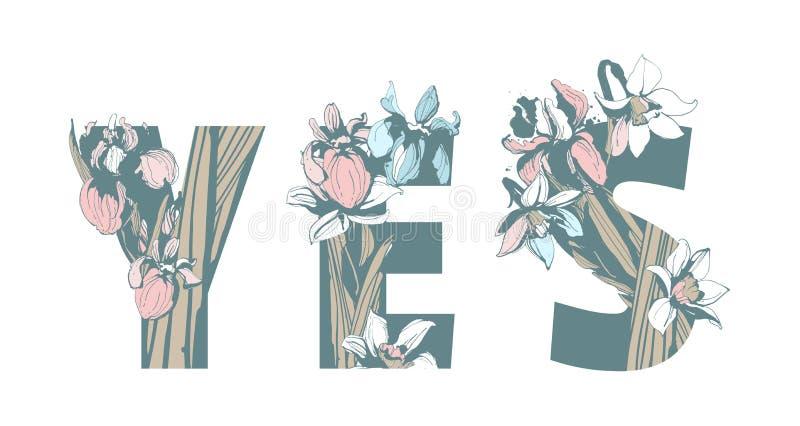 Γράφοντας το φεμινιστικό συρμένο χέρι floral σχέδιο δύναμης γυναικών κοριτσιών τυπωμένων υλών GRL PWR μπλουζών αδελφότητας αναπηδ διανυσματική απεικόνιση
