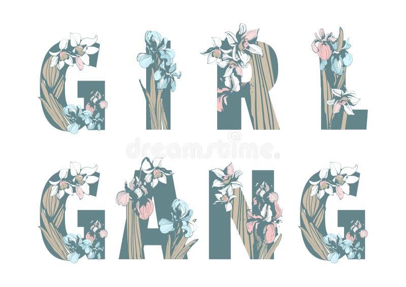Γράφοντας το φεμινιστικό συρμένο χέρι floral σχέδιο δύναμης γυναικών κοριτσιών συμμορίας κοριτσιών τυπωμένων υλών μπλουζών αδελφό διανυσματική απεικόνιση
