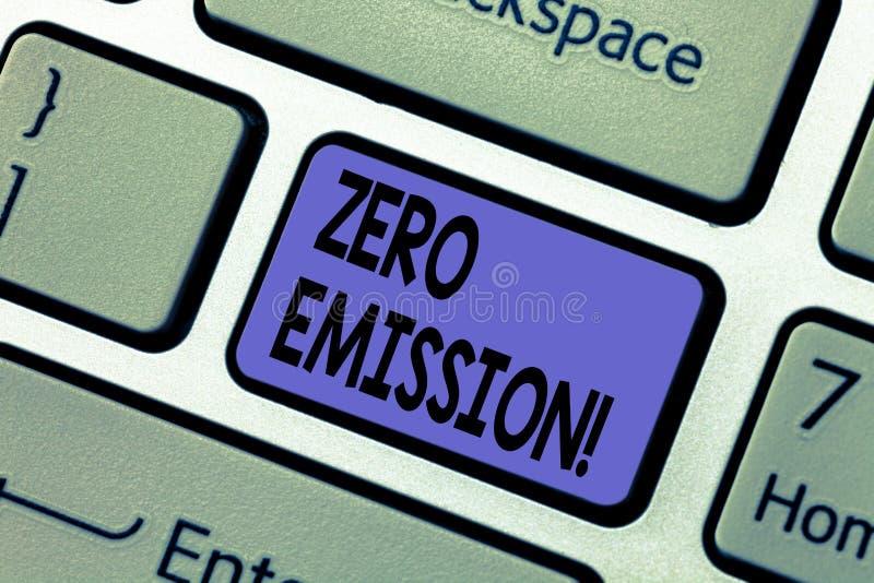 Γράψιμο κειμένων γραφής με μηδενικές εκπομπές Έννοια που σημαίνει την πηγή ενέργειας μηχανών μηχανών που δεν εκπέμπει κανένα πληκ στοκ φωτογραφίες με δικαίωμα ελεύθερης χρήσης