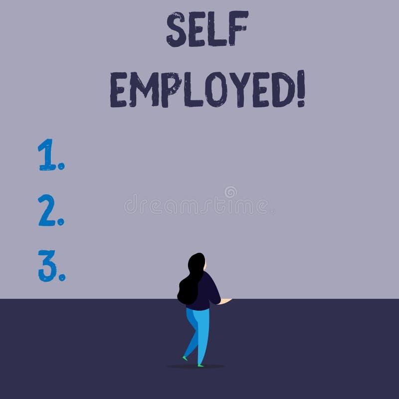 Γράψιμο κειμένων γραφής μόνο - υιοθετημένος Έννοια που σημαίνει τον ιδιοκτήτη μιας επιχείρησης παρά για έναν εργοδότη Freelancer ελεύθερη απεικόνιση δικαιώματος