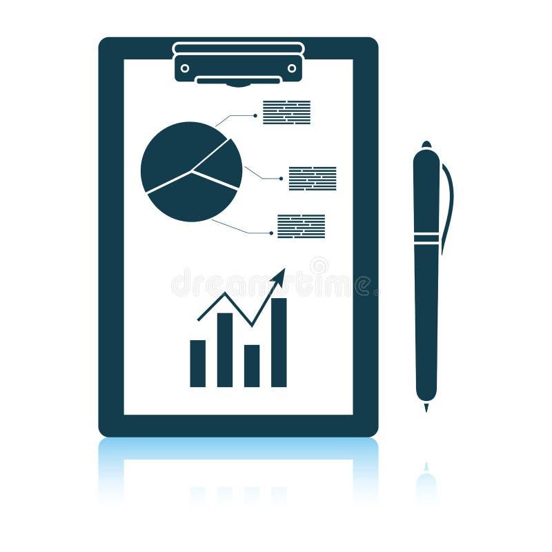 Γράψιμο της ταμπλέτας με το διάγραμμα analytics και το εικονίδιο μανδρών διανυσματική απεικόνιση