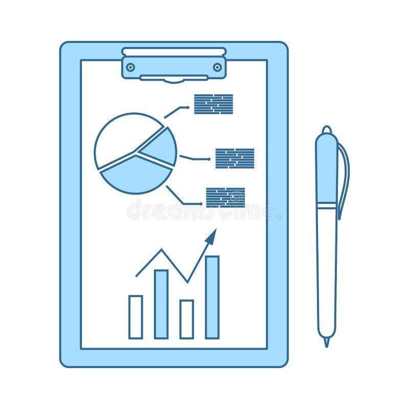 Γράψιμο της ταμπλέτας με το εικονίδιο διαγραμμάτων Analytics διανυσματική απεικόνιση