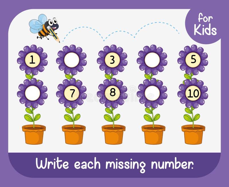 Γράψτε κάθε ελλείποντα αριθμό διανυσματική απεικόνιση
