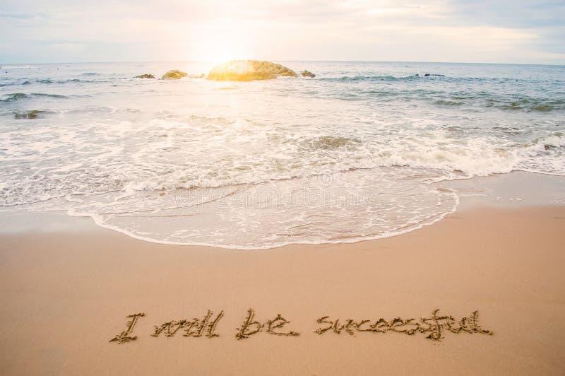 Γράψτε την επιτυχία στην παραλία στοκ εικόνα με δικαίωμα ελεύθερης χρήσης