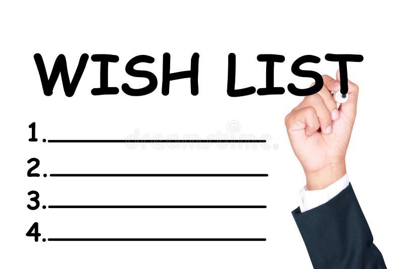 Γράψτε τη λίστα επιθυμητών στόχων στοκ φωτογραφία