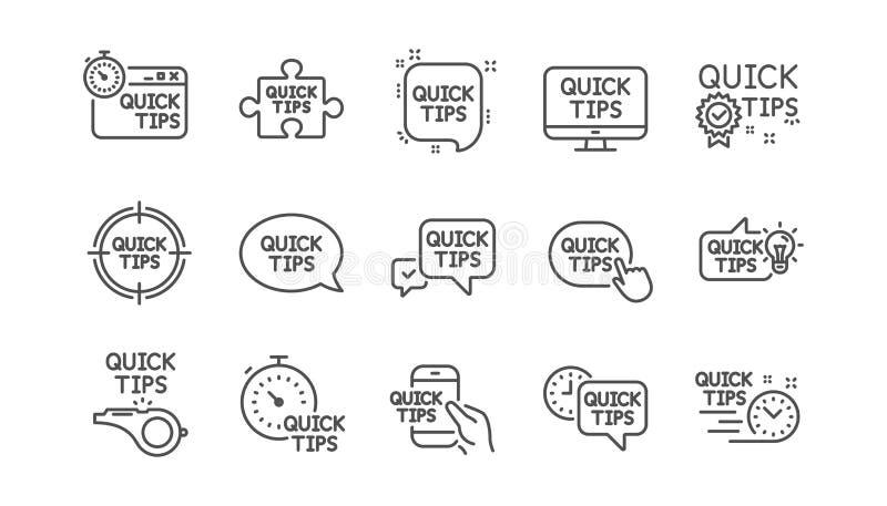 Γρήγορα εικονίδια γραμμών ακρών Χρήσιμη τεχνάσματα, λύση και οδηγός Quickstart Γραμμικό σύνολο εικονιδίων διάνυσμα ελεύθερη απεικόνιση δικαιώματος
