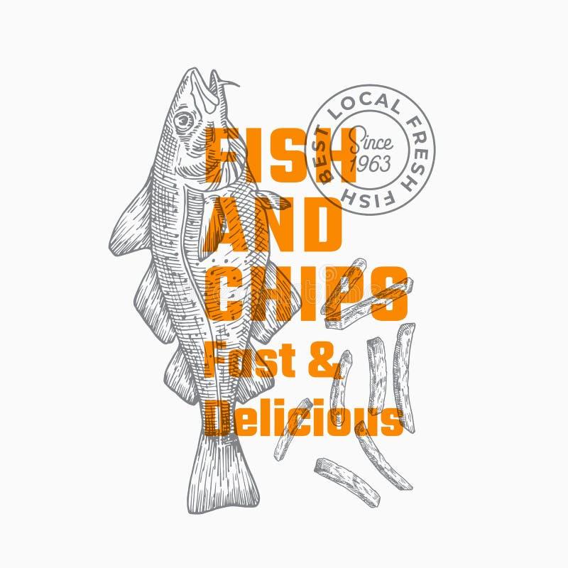 Γρήγορα και εύγευστα ψάρια και τσιπ Αφηρημένο διανυσματικό πρότυπο σημαδιών, συμβόλων ή λογότυπων Συρμένα χέρι ψάρια βακαλάων και διανυσματική απεικόνιση