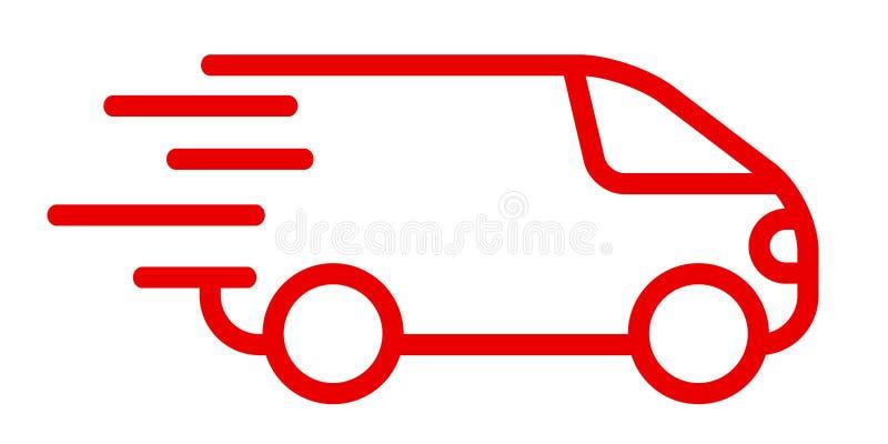 Γρήγορα στέλνοντας φορτηγό παράδοσης, γρήγορη υπηρεσία αποστολής - διάνυσμα διανυσματική απεικόνιση