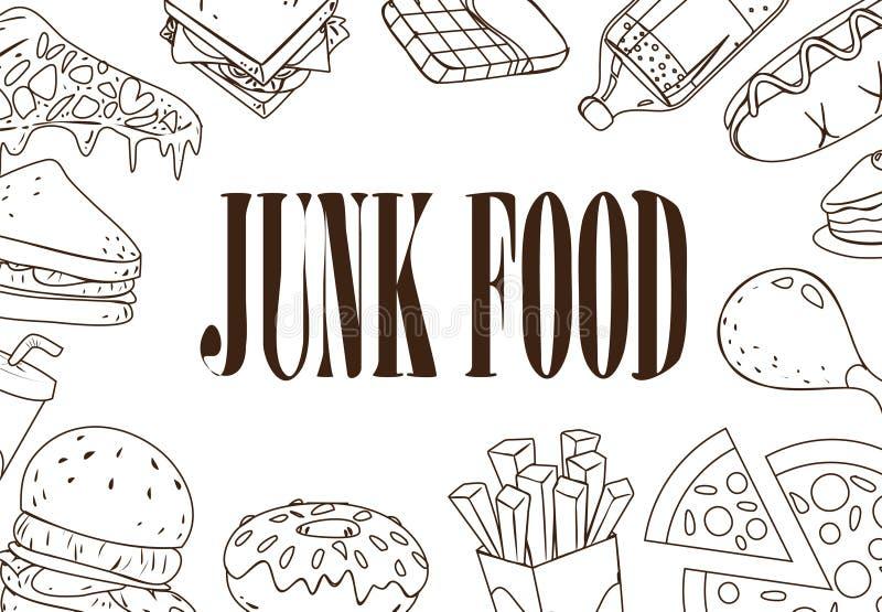 Γρήγορα τρόφιμα Doodle απεικόνιση αποθεμάτων