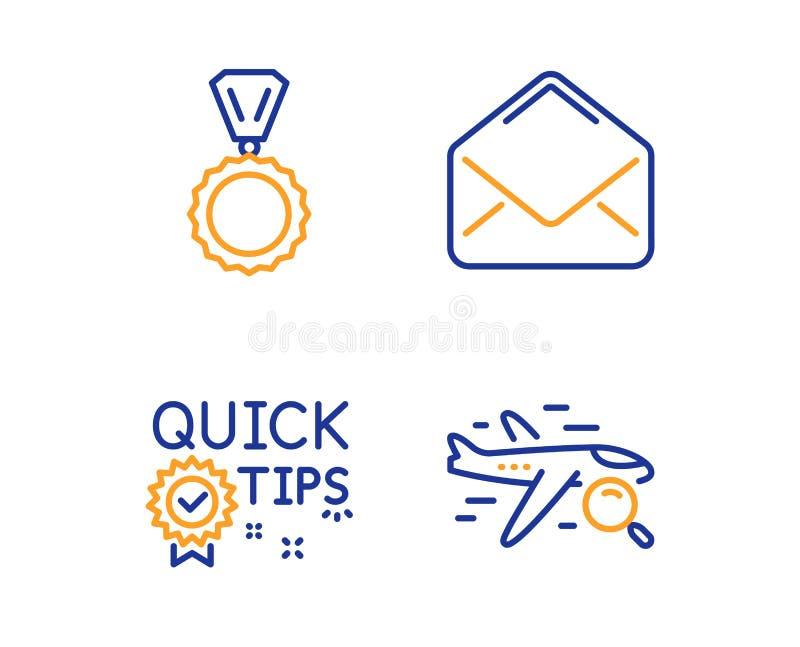 Γρήγορες άκρες, εικονίδια ταχυδρομείου και μεταλλίων καθορισμένες Σημάδι πτήσης αναζήτησης Χρήσιμα τεχνάσματα, ηλεκτρονικό ταχυδρ διανυσματική απεικόνιση