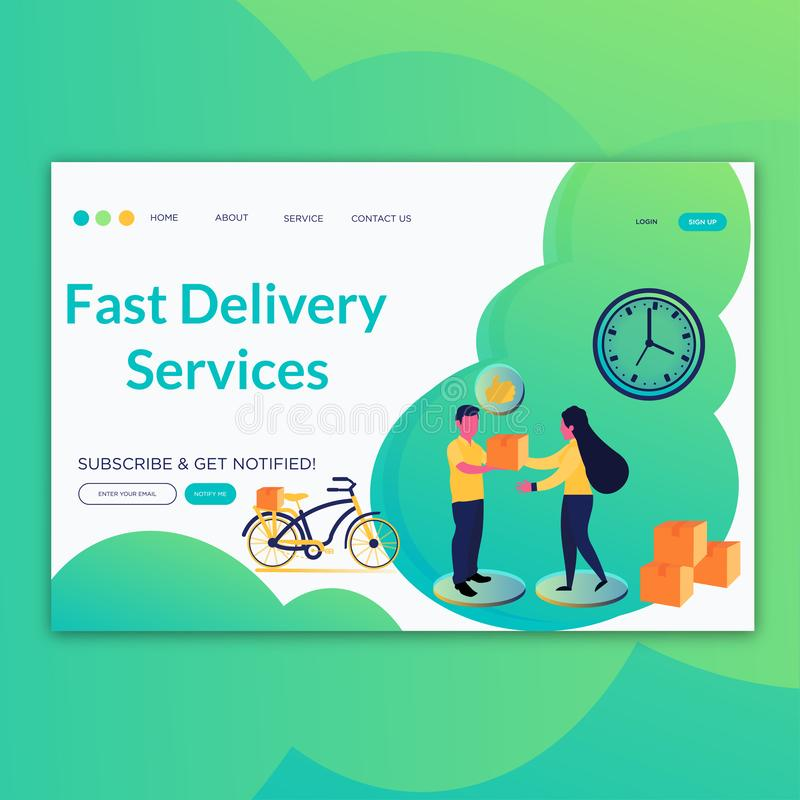 Γρήγορες υπηρεσίες παράδοσης που προσγειώνονται τις έννοιες σελίδων για τον ιστοχώρο και την κινητή ανάπτυξη Σύγχρονη επίπεδη απε απεικόνιση αποθεμάτων