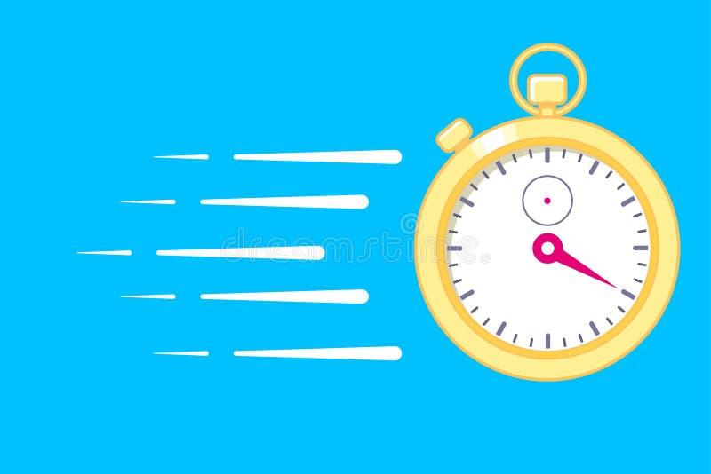 Γρήγορη χρονική παράδοση, έγκαιρη υπηρεσία, χρονόμετρο με διακόπτη στην κίνηση, έννοια προθεσμίας, διανυσματική απεικόνιση ταχύτη ελεύθερη απεικόνιση δικαιώματος
