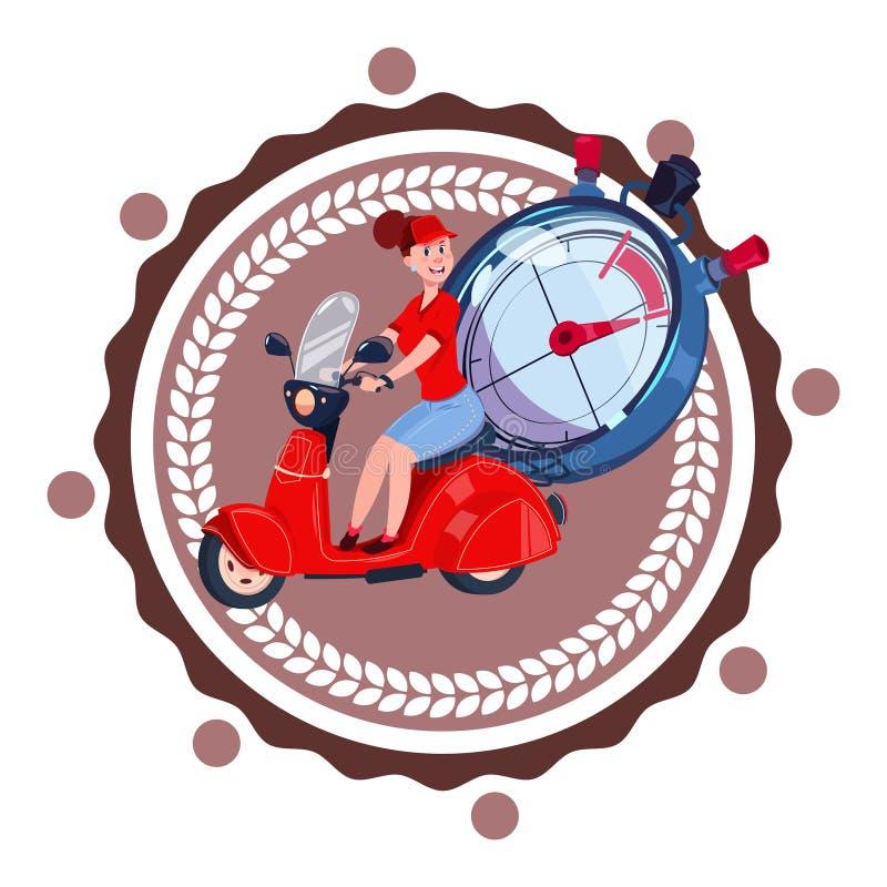 Γρήγορος αγγελιαφόρος γυναικών λογότυπων υπηρεσιών παράδοσης το αναδρομικό εικονίδιο μηχανικών δίκυκλων που απομονώνεται που οδηγ απεικόνιση αποθεμάτων