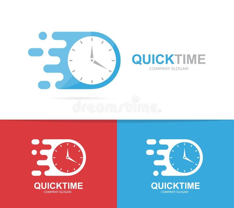 γρήγορος συνδυασμός λογότυπων ρολογιών Σύμβολο ή εικονίδιο χρονομέτρων ταχύτητας Μοναδικό σαφές και πρότυπο σχεδίου ρολογιών logo ελεύθερη απεικόνιση δικαιώματος