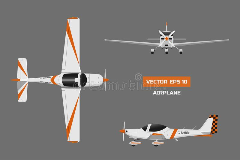 Γρήγορο αθλητικό αεροπλάνο στο γκρίζο υπόβαθρο Άποψη άνωθεν, μέτωπο, πλευρά Αεροσκάφη για την κατάρτιση Αεροπλάνο για την ακαδημί διανυσματική απεικόνιση