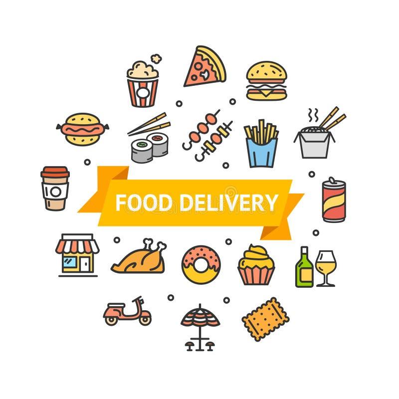 Γρήγορο γεύμα ή τρόφιμα οδών γύρω από την έννοια παράδοσης εικονιδίων γραμμών προτύπων σχεδίου διάνυσμα διανυσματική απεικόνιση