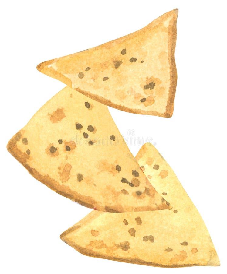 Γρήγορο γεύμα, τρία κομμάτια των nachos, συρμένο χέρι watercolor απεικόνιση αποθεμάτων