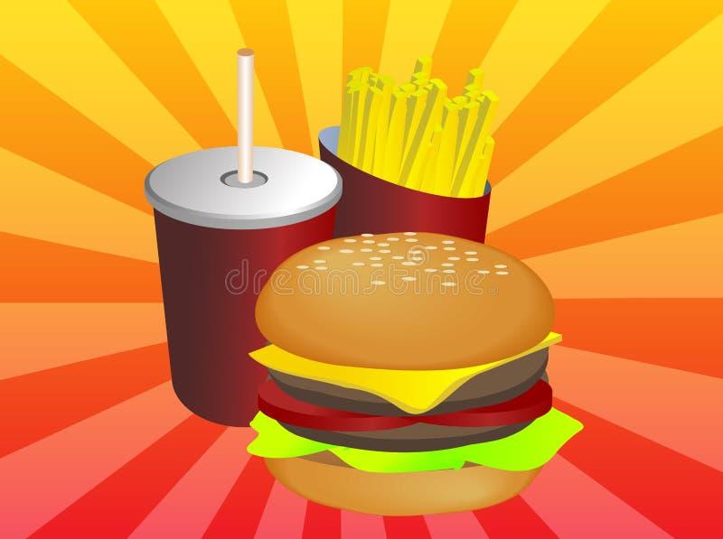 γρήγορο γεύμα combo διανυσματική απεικόνιση