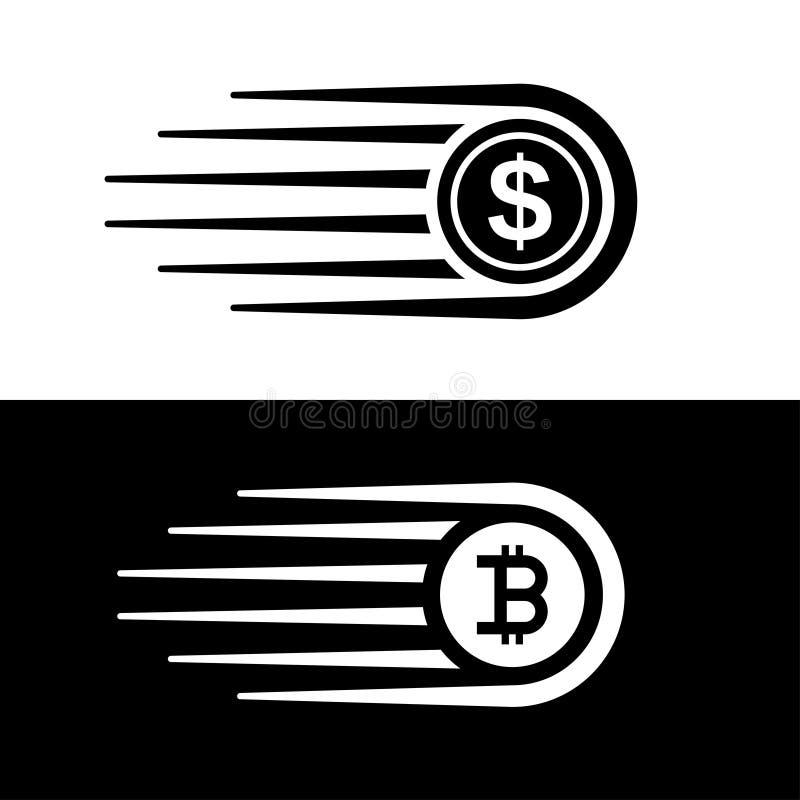 Γρήγορο διάνυσμα νομισμάτων γραμμών κινήσεων χρημάτων bitcoin ελεύθερη απεικόνιση δικαιώματος