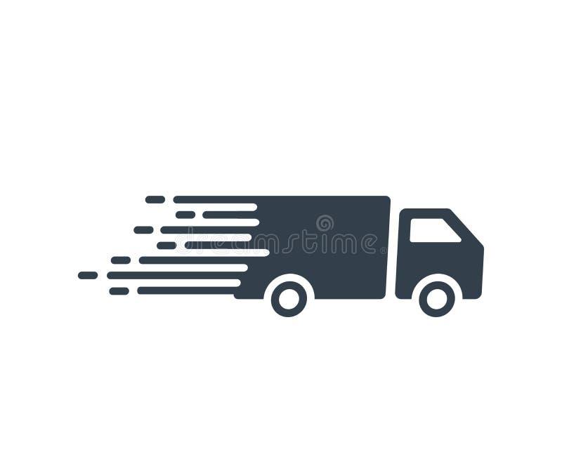 Γρήγορο εικονίδιο υπηρεσιών αποστολής με το φορτηγό που οδηγεί τη γρήγορη διανυσματική επίπεδη απεικόνιση για τις σαφείς έννοιες  απεικόνιση αποθεμάτων